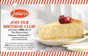 Join Junior's Birthday Club