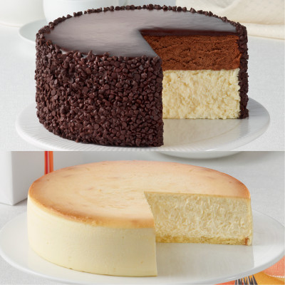 Chocolate Mousse and Plain Cheesecakes
